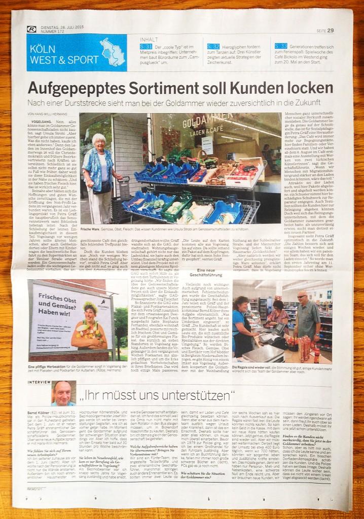 Kölner Rundschau vom 28. Juli 2015